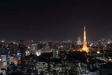 top view of Tokyo cityscape at night
