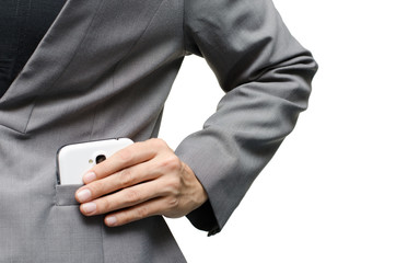 Woman hand picking up mobile phone from suit pocket
