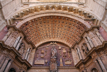 Detail of the arch of entrance of the cathedral of Mallorca