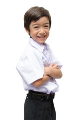 Little student boy in uniformon white background