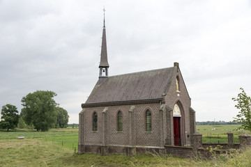 church in the field near the village ohe and laak