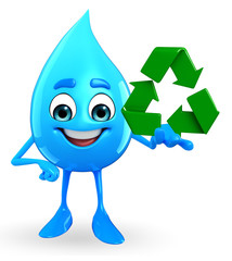 Water Drop Character with recycle icon