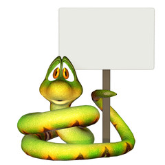 Cartoon snake holding a blank sign
