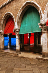 Detail of an entrance of the historic  fish market in Venice