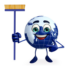 Earth Character with Cleaning mop