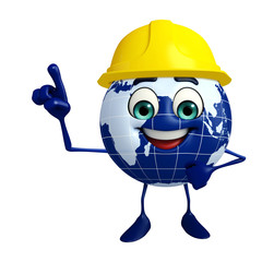 Globe Character with worker hat