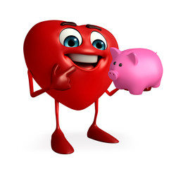 Heart Shape character with piggy bank