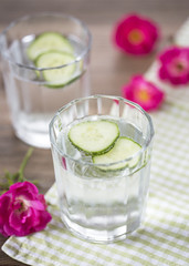 Cold mineral water with cucumber