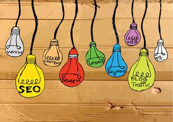 Seo Idea SEO Search Engine Optimization on Cardboard Texture ill