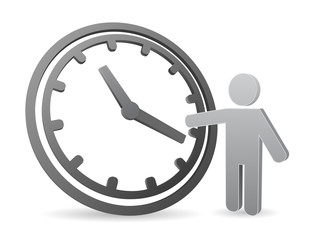 clock icon with 3d person