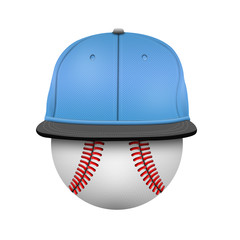 White and blue baseball cap template