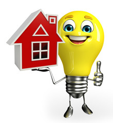 Light Bulb Character with home