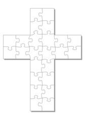 weiße Kreuz als Puzzle, Puzzel