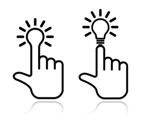 hand lightbulb design element
