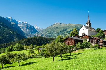 Alps: typical swiss village
