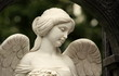 mournful angel with with a female face