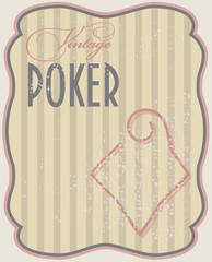 Vintage poker card diamonds, vector illustration
