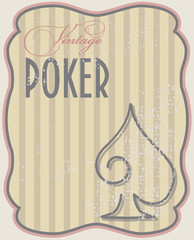 Vintage poker card spades, vector illustration