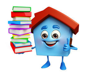 House character with books pile