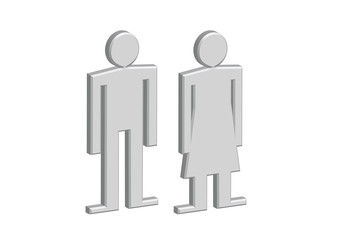 3D Pictogram Man Woman Sign icons, toilet sign or restroom icon