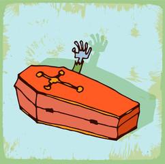 halloween cartoon coffin
