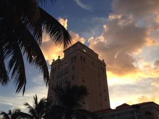Wahrzeichen von Miami bei Sonnenuntergang