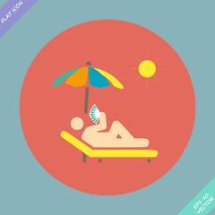 relax under an umbrella on a lounger - vector