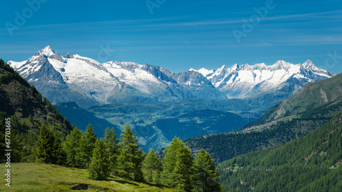 European Alps. Panorama with high mountains - 67703685