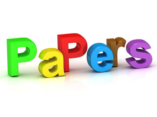 papers 3d inscription bright volume letter