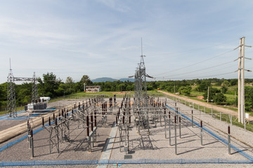 Sub station 115/22 kV outdoor type bird eye view