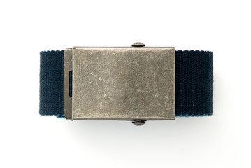 square metal buckle on blue belt.