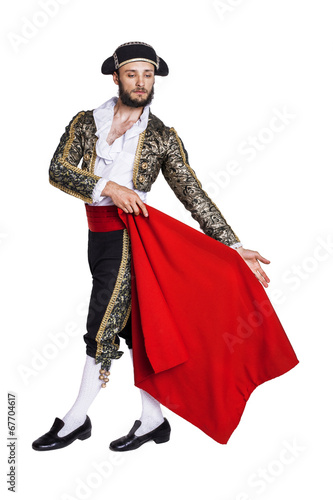 Aluminium Stierenvechten Male dressed as matador on a white background