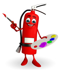 Fire Extinguisher character with color plate