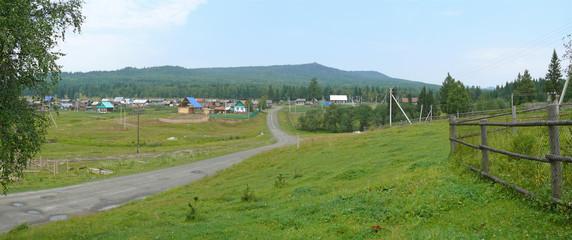 Russia, Alanga. Landscape nature. Coniferous forest. The village