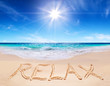 "canvas print picture - word ""relax"" on the tropical beach"