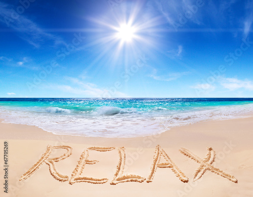 "canvas print picture word ""relax"" on the tropical beach"