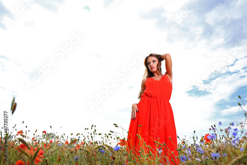 canvas print picture Woman in red dress