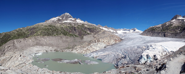 Panoramic view of Rhone glacier, Swiss beauty, Switzerland