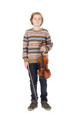blonde boy with a violin