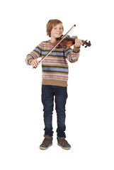 blond boy with a violin