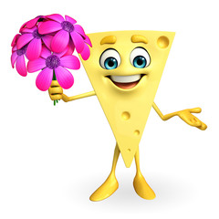 Cheese Character with flowers