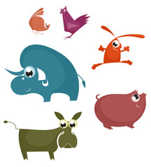 Vector comic farm animals collection for design