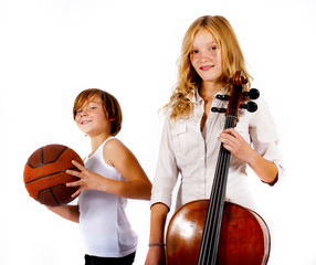 boy with basketball and girl with double bass