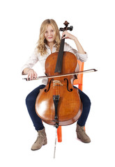 blond girl playing double bass