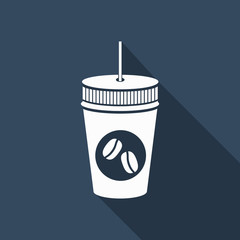 coffee icon with long shadow