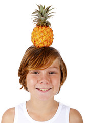 boy with pineapple on his head