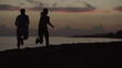 Couple jogging on footway, steadycam shot, slow motion shot