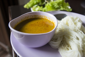 rice vermicelli eaten with minced fish soup