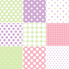 Pastel polka dot seamless patterns