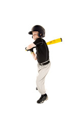 boy baseball player swinging at pitch with his eyes closed